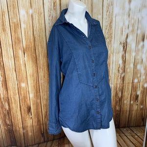 NEW One Teaspoon Denim Top Button Down Shirt XS